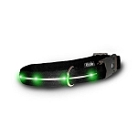 Black Nylon Collar with Jade Green LED